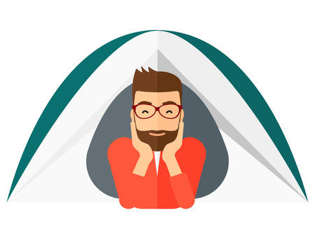 crawling: A hipster man with the beard crawling out from a tent vector flat design illustration isolated on white background. Illustration