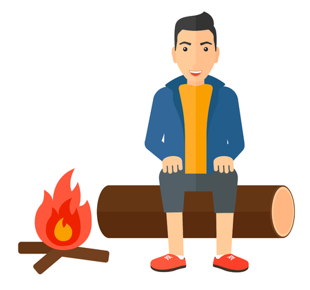 A man sitting on a log at camp near the fire vector flat design illustration isolated on white background.