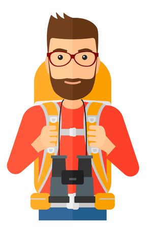 hiking: A hipster man with backpack and binoculars hiking vector flat design illustration isolated on white background. Illustration