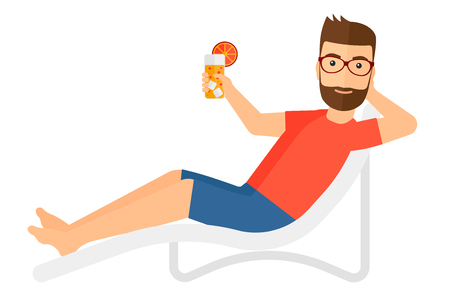 chaise longue: A hipster man with the beard sitting in a chaise longue and holding a cocktail in hand vector flat design illustration isolated on white background.