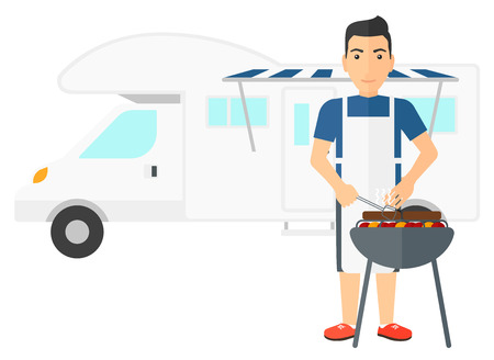 motor home: A man preparing barbecue in front of motor home vector flat design illustration isolated on white background.