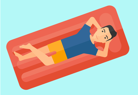 cartoon bed: A man relaxing on the air bed in the swimming pool vector flat design illustration isolated on white background. Illustration