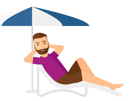 chaise longue: A hipster man with the beard sitting in a chaise longue under umbrella vector flat design illustration isolated on white background. Illustration