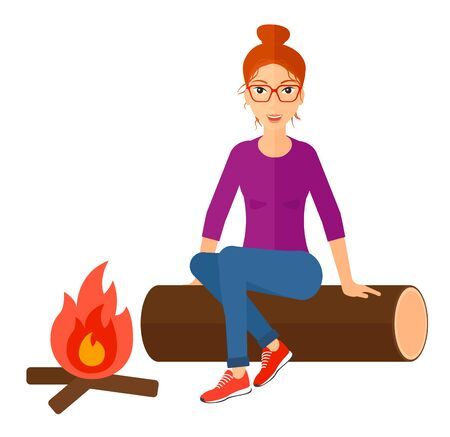restful: A woman sitting on a log at camp near the fire vector flat design illustration isolated on white background.