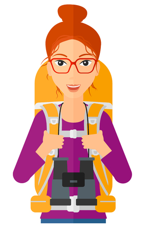 watcher: A woman with backpack and binoculars hiking vector flat design illustration isolated on white background.