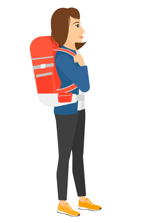 hiking: A woman with backpack hiking vector flat design illustration isolated on white background.