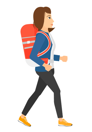 woman hiking: A woman with backpack hiking vector flat design illustration isolated on white background.