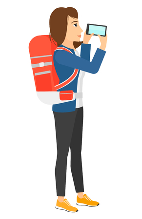 backpacker: A backpacker taking a photo vector flat design illustration isolated on white background.