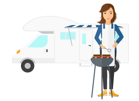 motor home: A woman preparing barbecue in front of motor home vector flat design illustration isolated on white background.