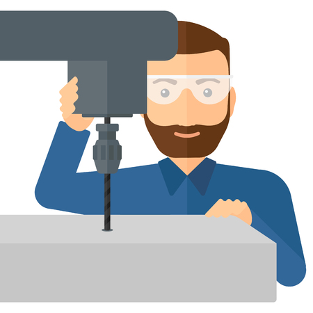 metalworking: A hipster man with the beard working with a drilling machine vector flat design illustration isolated on white background.