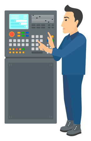 A man standing in front of the control panel vector flat design illustration isolated on white background. Illustration