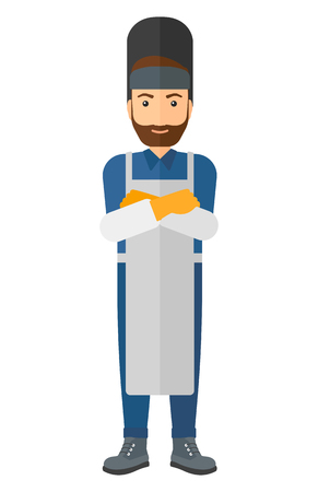 A hipster welder with the beard  vector flat design illustration isolated on white background. Illusztráció