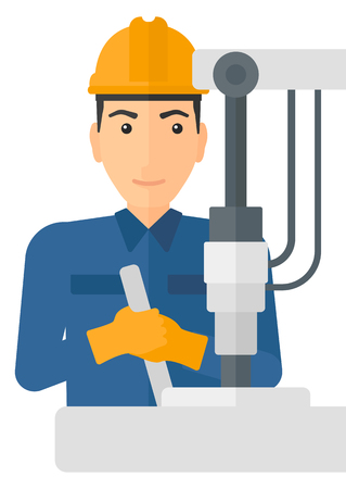A man working with an industrial equipment vector flat design illustration isolated on white background.