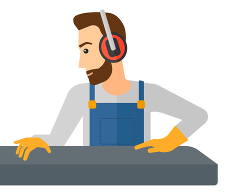 A hipster man with the beard working on a steel-rolling mill vector flat design illustration isolated on white background.