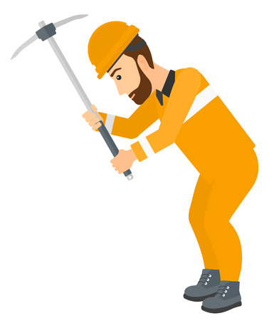 labourer: A hipster man with the beard working with a pickaxe vector flat design illustration isolated on white background. Illustration