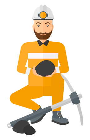 A miner sitting near a pickaxe and holding coal in hands vector flat design illustration isolated on white background.