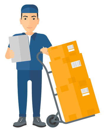A delivery man standing near cart with boxes and holding a file in a hand vector flat design illustration isolated on white background.