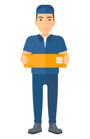 carrying box: A delivery man carrying box vector flat design illustration isolated on white background. Illustration