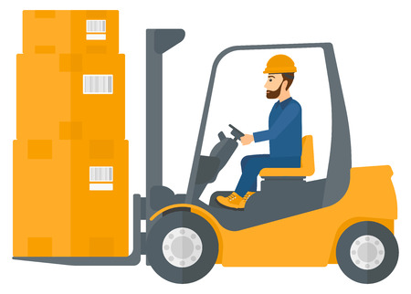 warehouse worker: A warehouse worker moving load by forklift truck vector flat design illustration isolated on white background. Illustration