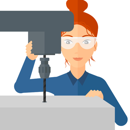 lathe: A woman working with a drilling machine vector flat design illustration isolated on white background.