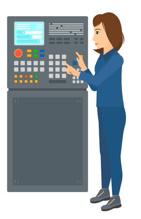 A woman standing in front of the control panel vector flat design illustration isolated on white background.