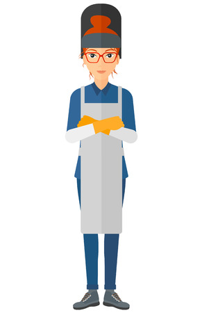 workwoman: A welder standing with crossed arms vector flat design illustration isolated on white background. Illustration
