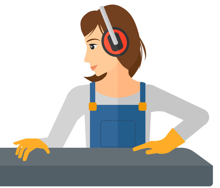 workwoman: A woman working on a steel-rolling mill vector flat design illustration isolated on white background.