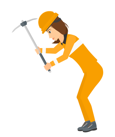 laborer: A woman working with a pickaxe vector flat design illustration isolated on white background. Illustration