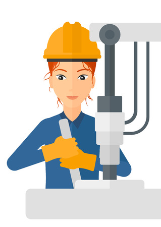 construction equipment: A woman working with an industrial equipment vector flat design illustration isolated on white background. Illustration