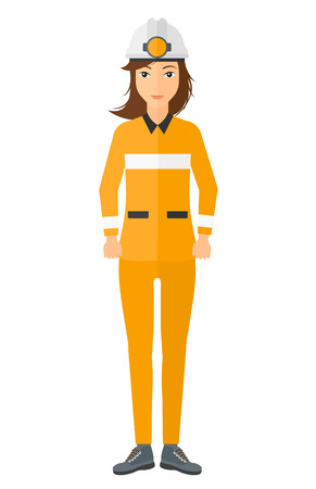 workwoman: A miner in hardhat with torch vector flat design illustration isolated on white background.