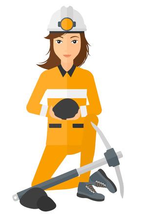 Een mijnwerker zitten in de buurt een pikhouweel en het houden van steenkool in handen vector platte ontwerp illustratie op een witte achtergrond.