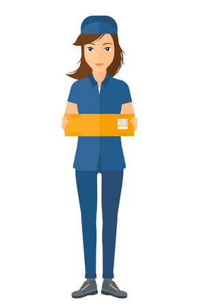 carrying box: A delivery woman carrying box vector flat design illustration isolated on white background.