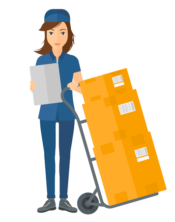 A delivery woman standing near cart with boxes and holding a file in a hand vector flat design illustration isolated on white background.