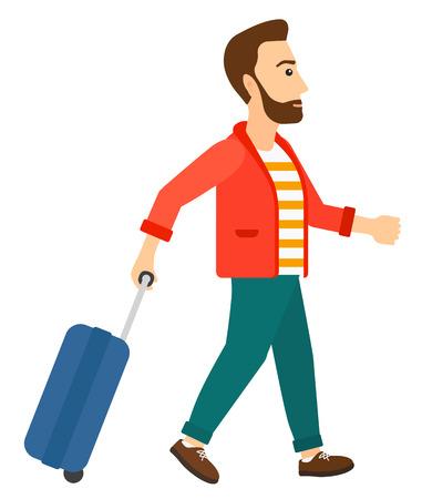 Een man lopen met een koffer vector plat ontwerp illustratie op een witte achtergrond. Stock Illustratie