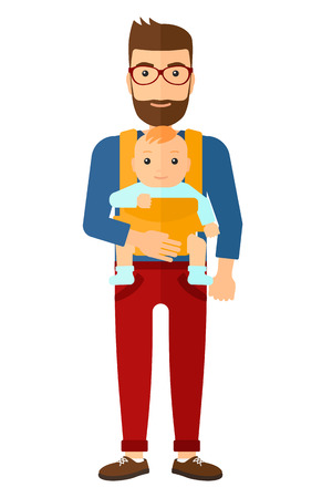 A hipstre man with the beard carrying a baby in sling vector flat design illustration isolated on white background. Illustration