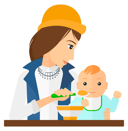 family eating: A young mother holding a spoon and feeding baby vector flat design illustration isolated on white background.