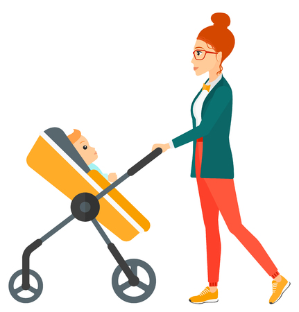 A young mother pushing a baby stroller vector flat design illustration isolated on white background.