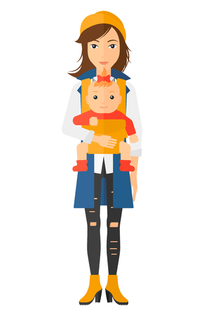 lenght: Woman holding baby in sling vector flat design illustration isolated on white background. Illustration