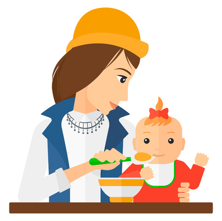 A young mother holding a spoon and feeding baby vector flat design illustration isolated on white background.