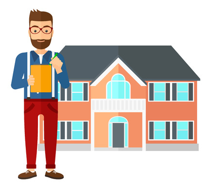 signing agent: A real estate agent signing documents in front of the house vector flat design illustration isolated on white background. Illustration