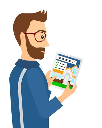 A hipster man with the beard looking at house on digital tablet screen vector flat design illustration isolated on white background.