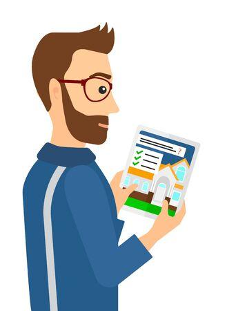 Ein Hipster Mann mit dem Bart im Haus auf digitalen Tablet-Bildschirm Vektor flache Design, Illustration der Suche auf weißem Hintergrund.