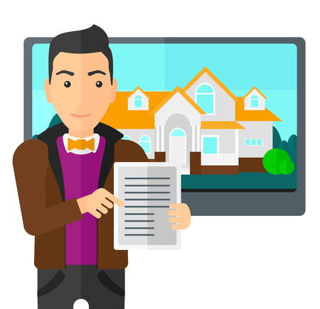 big screen: A man standing in front of big screen with house photo and holding a tablet computer in hands vector flat design illustration isolated on white background.