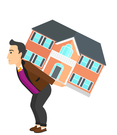 A man carrying a big house on his back vector flat design illustration isolated on white background. Ilustrace