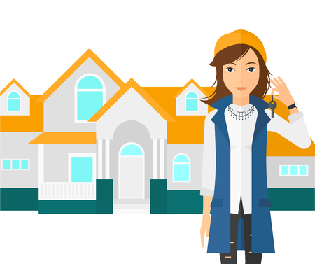 buyer: A woman holding key on house background vector flat design illustration isolated on white background.