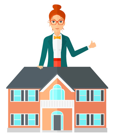 real estate house: A woman standing behind the house with thumb up vector flat design illustration isolated on white background.