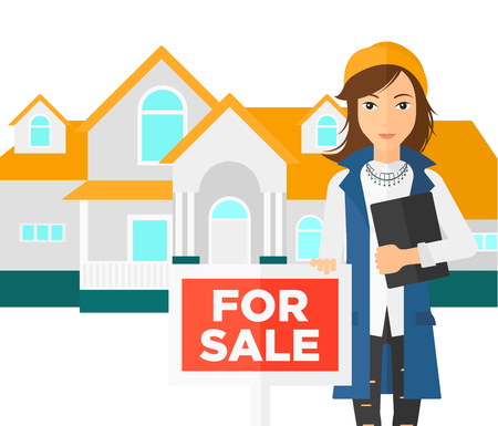 condo: A woman holding the document and placard for sale on house background vector flat design illustration isolated on white background.