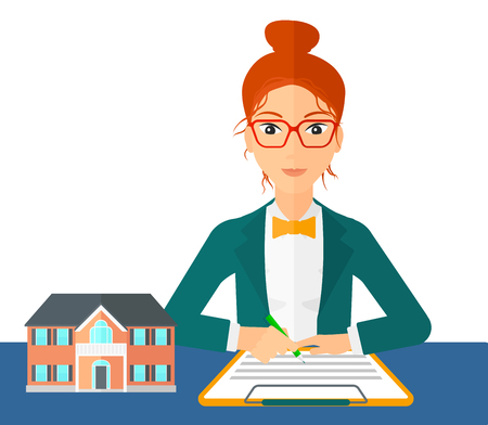 signing: A woman sitting at the table while signing a contract and a small model of the house standing on the table vector flat design illustration isolated on white background.