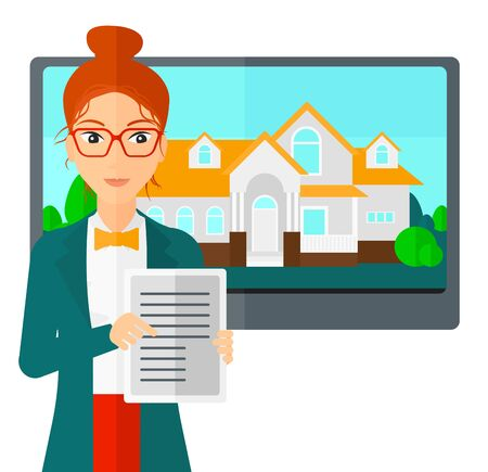 big screen: A woman standing in front of big screen with house photo and holding a tablet computer in hands vector flat design illustration isolated on white background.