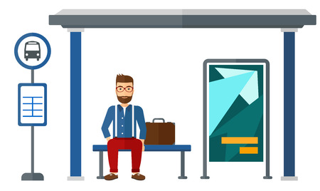 A man waiting for a bus at a bus-stop vector flat design illustration isolated on white background.